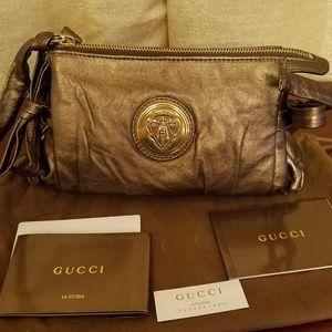 Gucci Bronze Leather Hysteria Clutch Bag